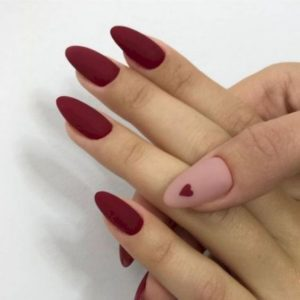 red matte nail look