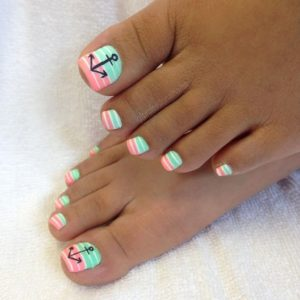 minty and pink stripes toenails
