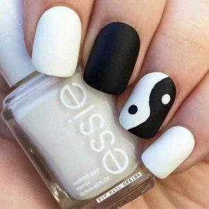 black and white ying yang nail designs
