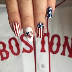 4th of July almond nails
