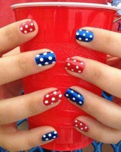 red blue polka dot