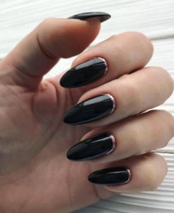 black oval nails with rose gold