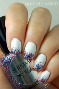 white with red blue glitter