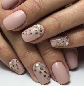 detailed nail design beige