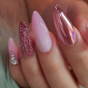 long almond nails with gems