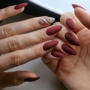 maroon matte almond-shaped