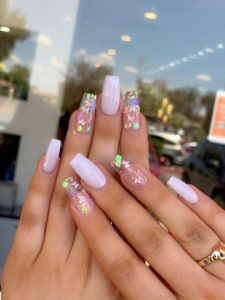 pink coffin butterfly nails