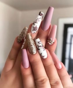 pink glitter floral nails