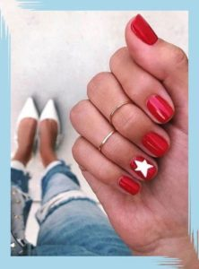 white star on red