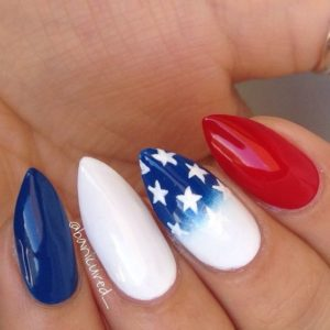 pointy 4th of july nails