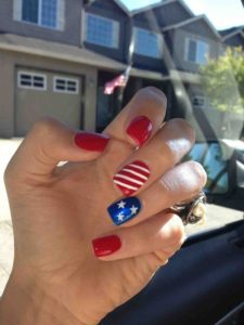 star stripe red nails