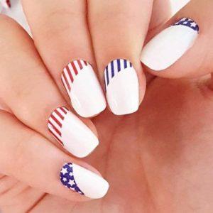 white nails star stripes