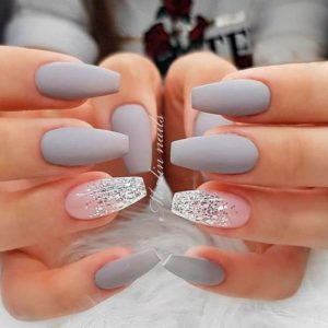 Grey Acrylic Nails Mani