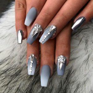 Grey Ombre Nails diamonds