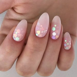 Sparkly Almond Shaped Nails