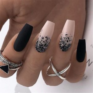 splattered black acrylic nails coffin