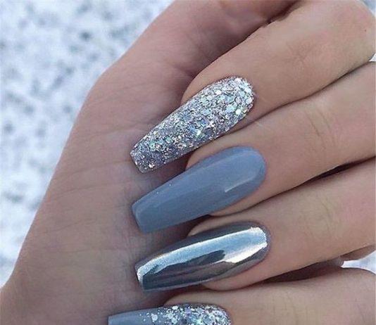 grey chrome glitter acrylic nails coffin