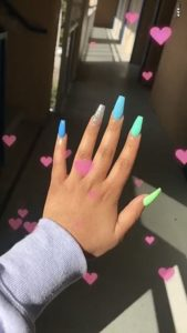 pastel monochrome acrylic nails coffin