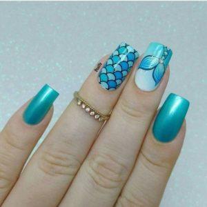 mermaid tail blue Nails