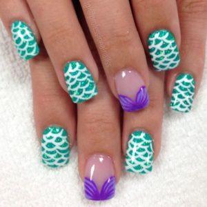 seashell bra scales mermaid nails