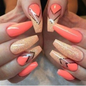 coral gold glitter nails