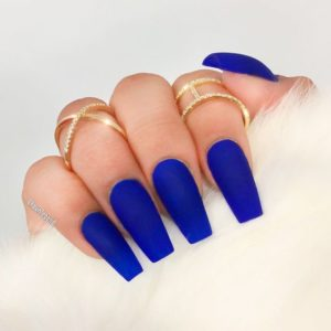 bright blue solid acrylic nails coffin