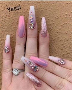 coffin pink nails with diamonds