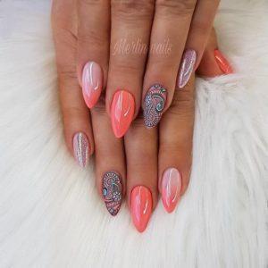 coral paisley nails
