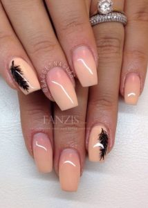 coral with black feather nails