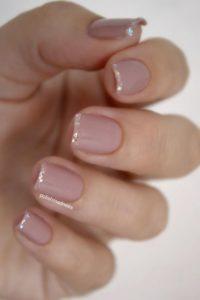 nude glitter tips Short Acrylic Nails