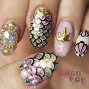 antique mermaid nails