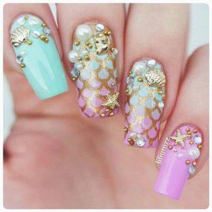 shell embellishment mermaid nails