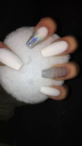 white iridescent acrylic nails coffin