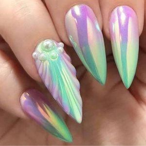 shell texture pearl mermaid nails