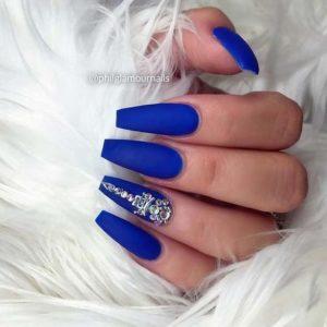 matte blue diamond nails