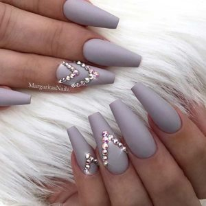 grey with rhinestones triangle