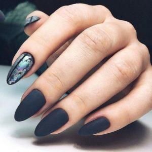 black matte iridescent flakes