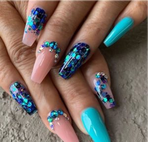 mermaid nails with glitter