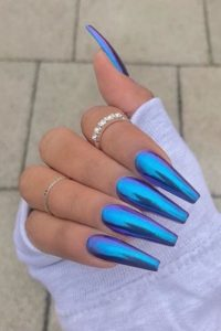 bright blue iridescent acrylic nails coffin