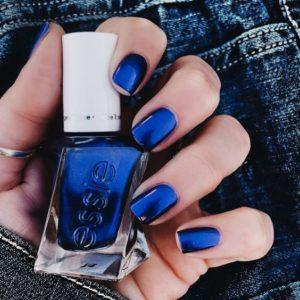 short metallic blue