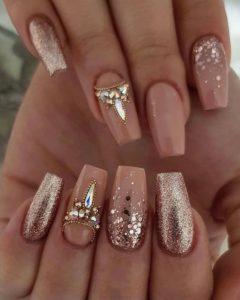 gold rhinestones on nails