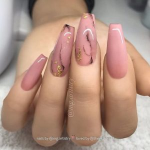 black nude marbling acrylic nails coffin
