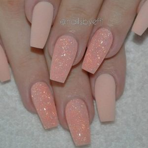 matte coral and glitter nails