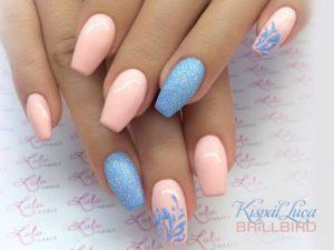 coral blue glitter nails