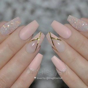 nude glitter gold acrylic nails coffin