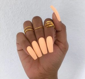 statement coffin coral nails
