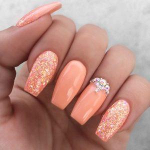 glitter in peach