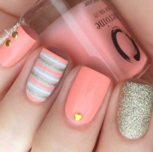 coral with gold stripes