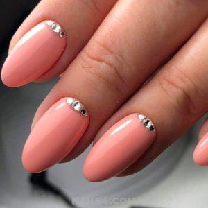 almond Rhinestone nails