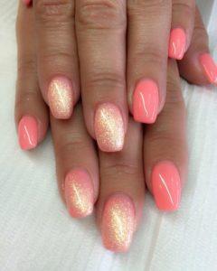 bright coral and glitter